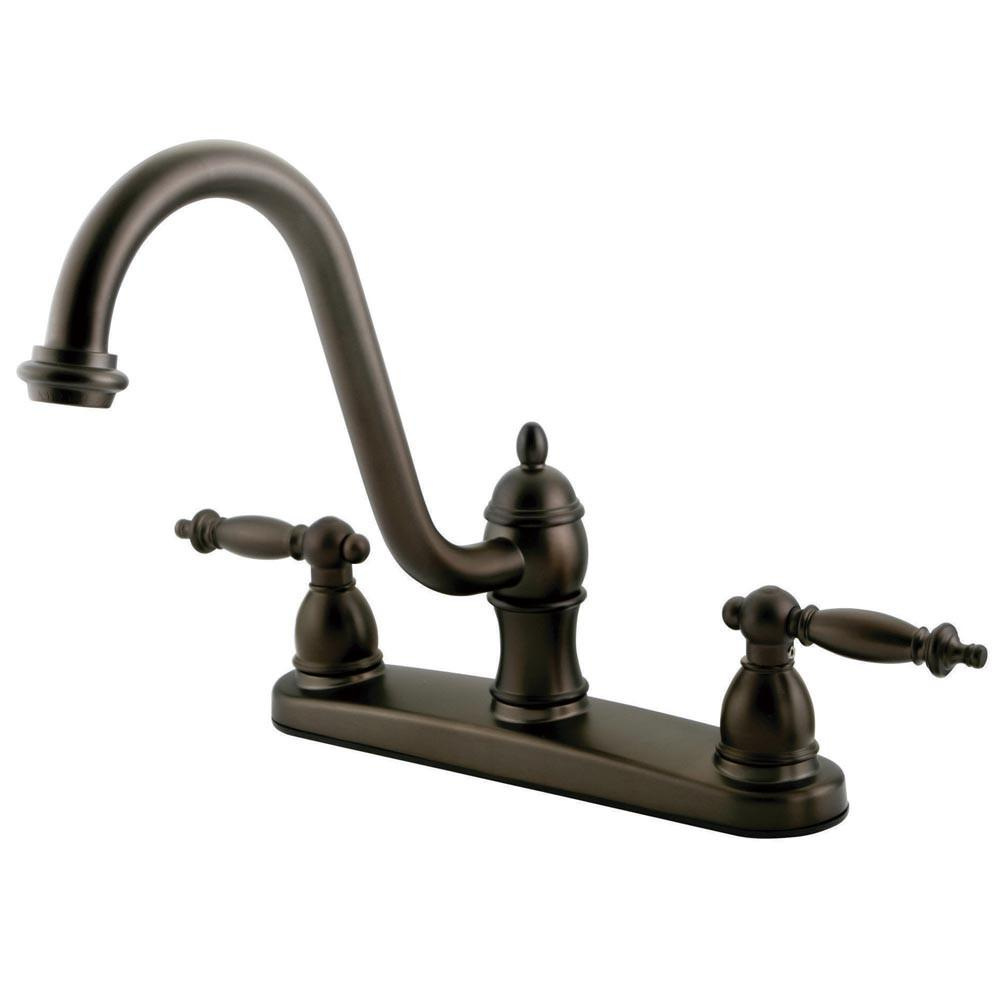 "Kingston Oil Rubbed Bronze Templeton 8"" Centerset Kitchen Faucet KB3115TLLS"