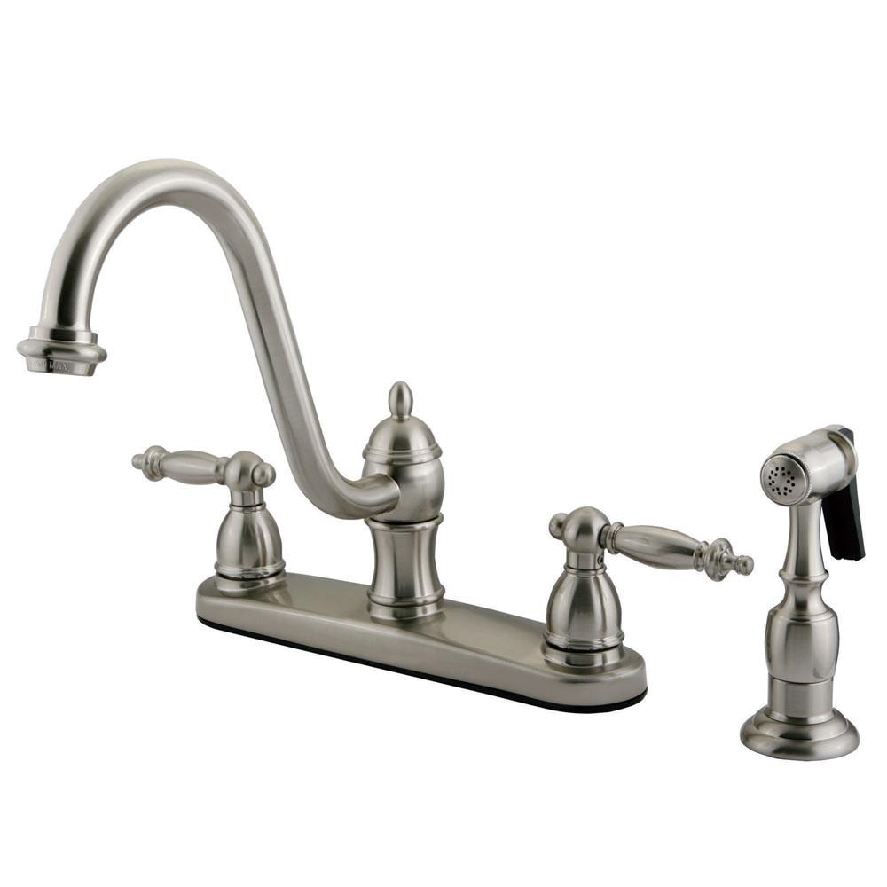 "Kingston Satin Nickel Templeton 8"" Kitchen Faucet With Brass Sprayer KB3118TLBS"