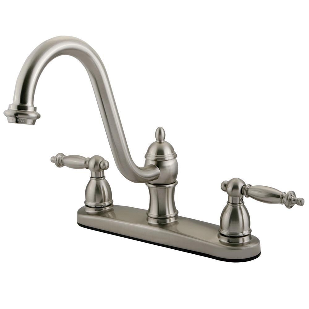 "Kingston Satin Nickel Templeton 8"" Kitchen Faucet Without Sprayer KB3118TLLS"