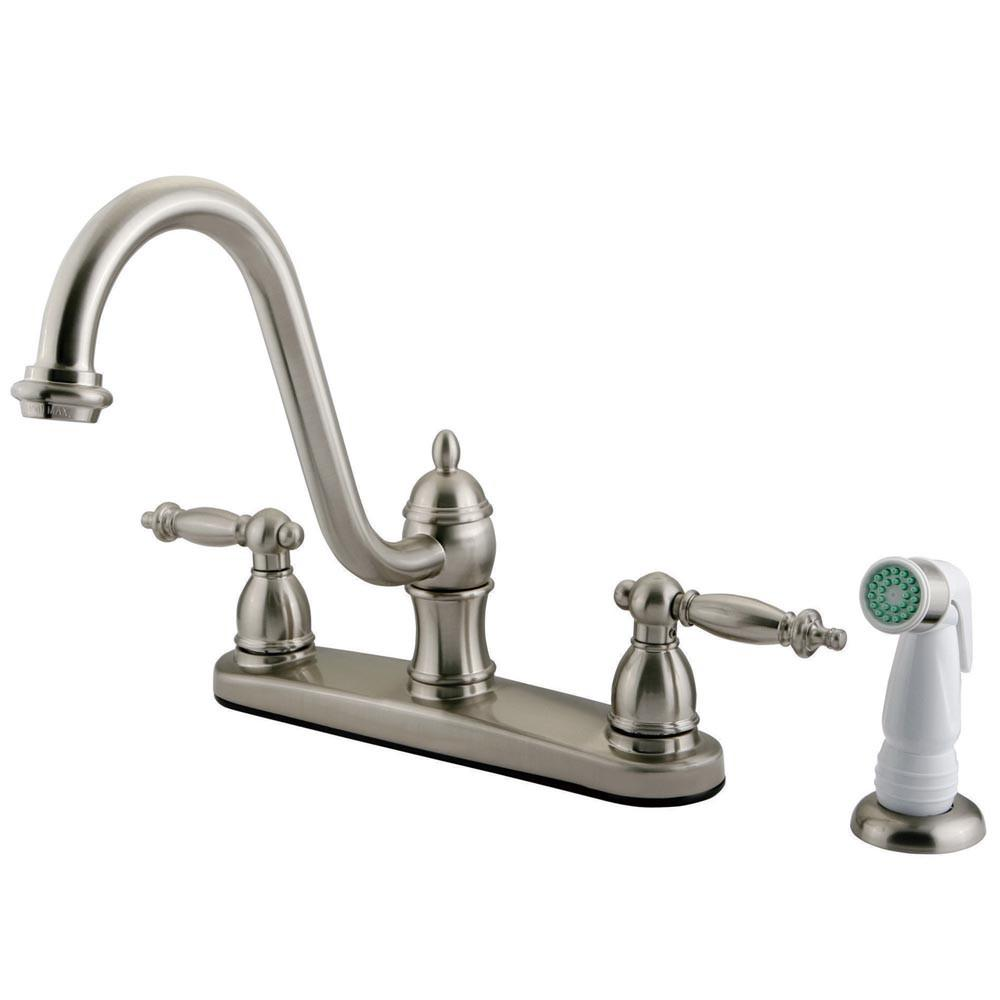 "Kingston Satin Nickel Templeton 8"" Kitchen Faucet With White Sprayer KB3118TL"