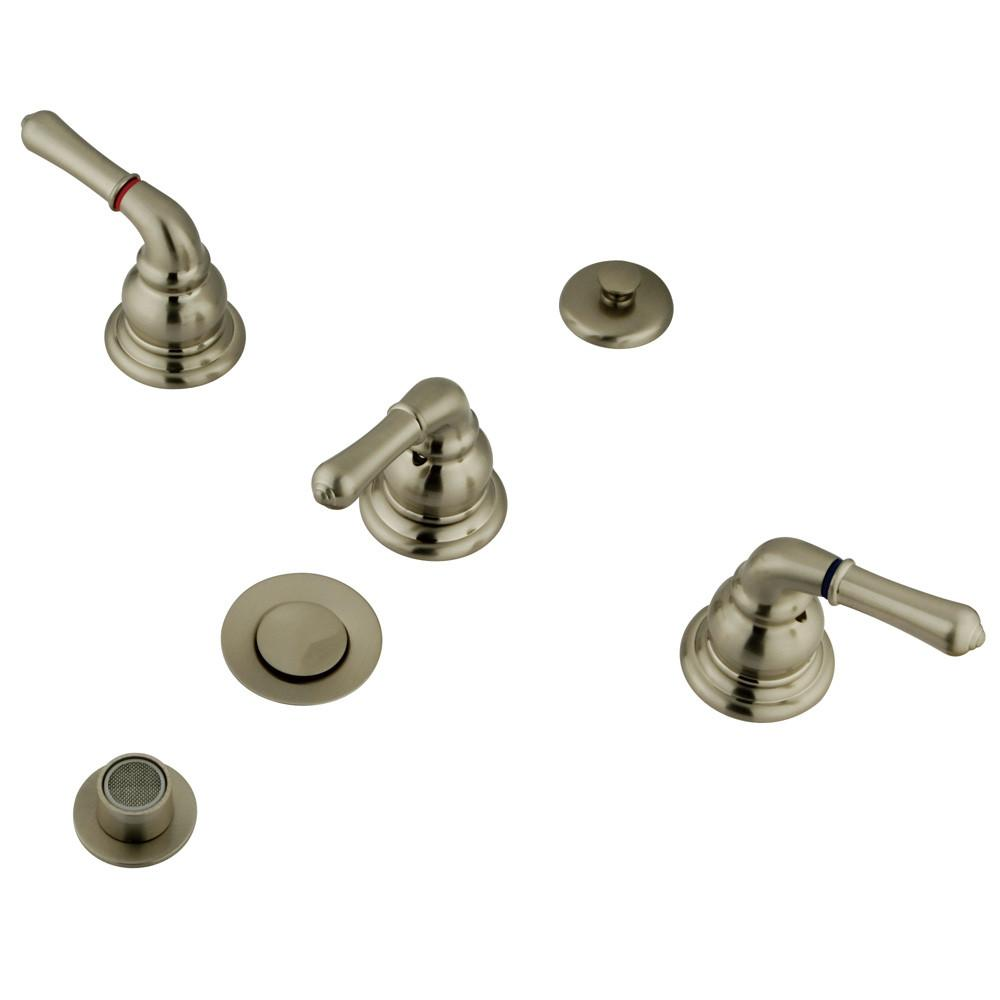 Kingston Satin Nickel Magellan bidet faucet with lever handles, brass pop- KB328