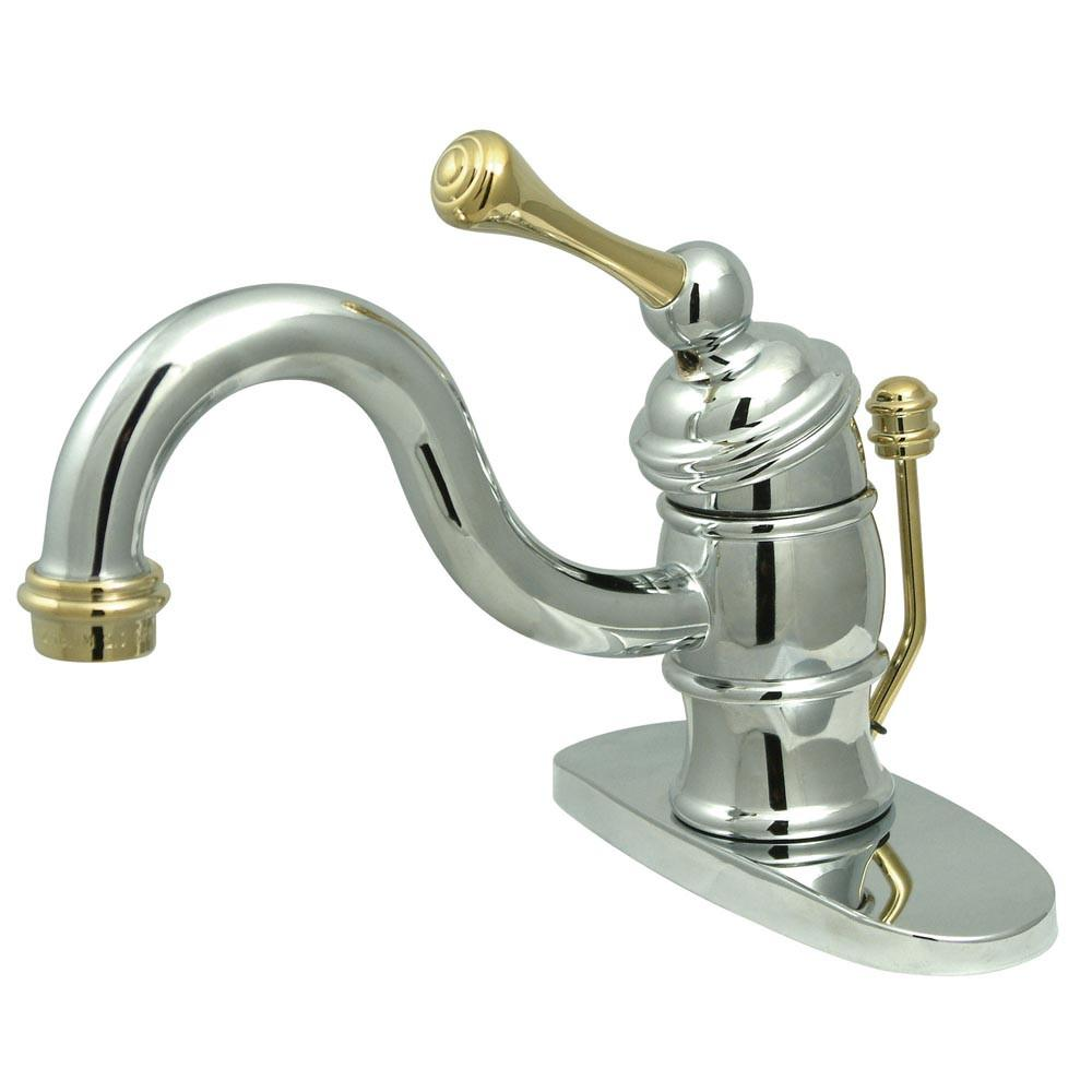 Kingston Chrome/Polished Brass Single Handle Centerset Bathroom Faucet KB3404BL