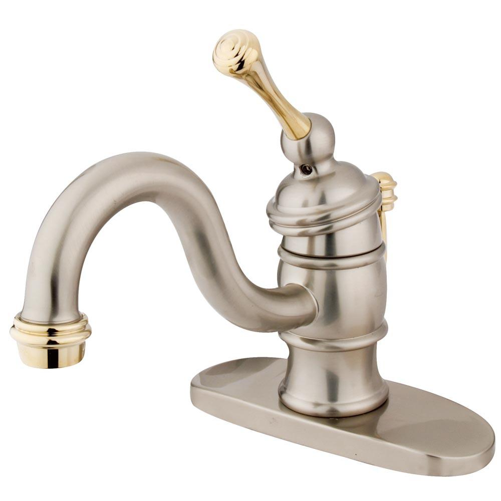 Kingston Satin Nickel / Polished Brass 1 Hdl Centerset Bathroom Faucet KB3409BL
