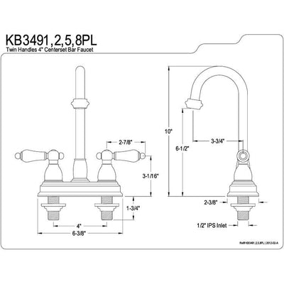 "Kingston Brass Chrome Two Handle 4"" Centerset Bar Prep Sink Faucet KB3491PL"