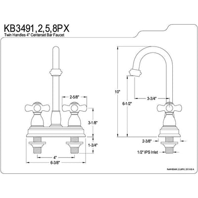 "Kingston Brass Chrome Two Handle 4"" Centerset Bar Prep Sink Faucet KB3491PX"