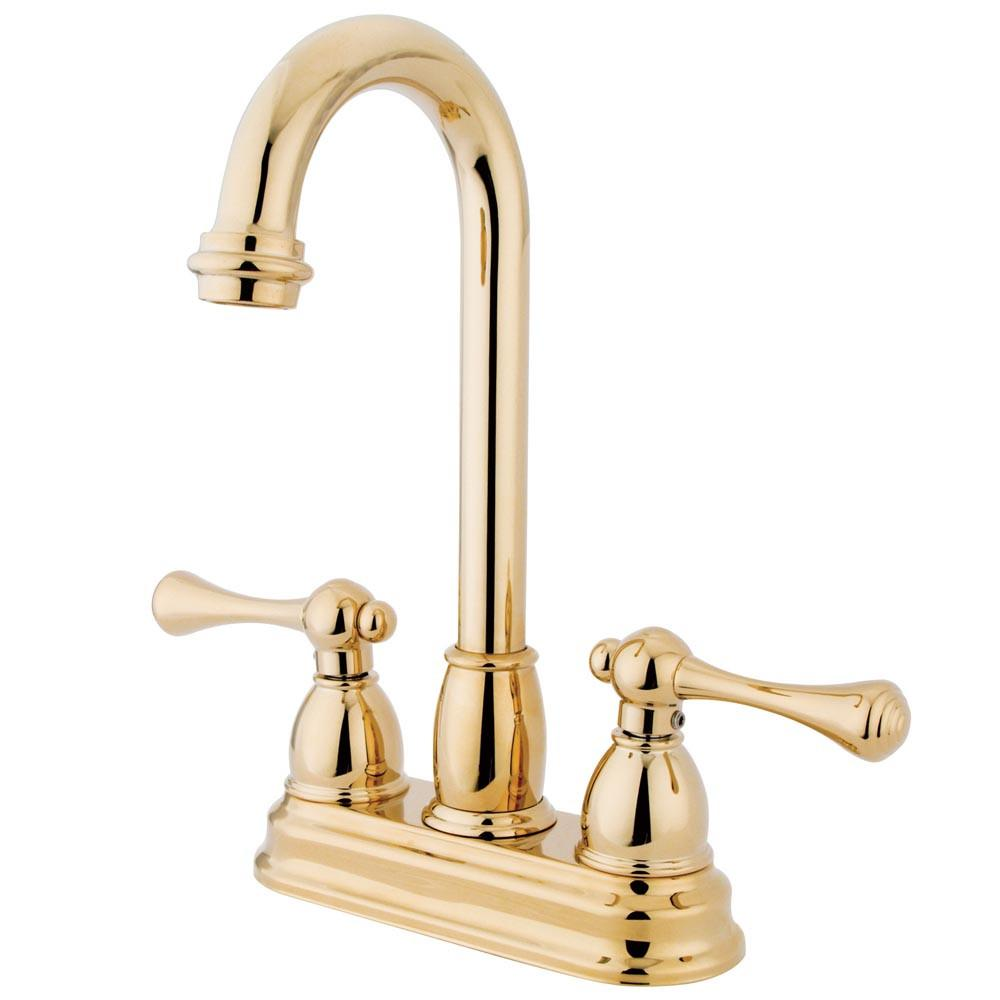 "Kingston Brass Polished Brass Two Handle 4"" Centerset Bar Faucet KB3492BL"