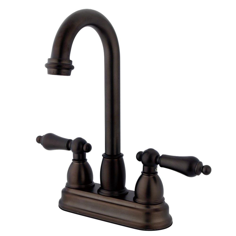 "Kingston Oil Rubbed Bronze Two Handle 4"" Centerset Bar Prep Sink Faucet KB3495AL"