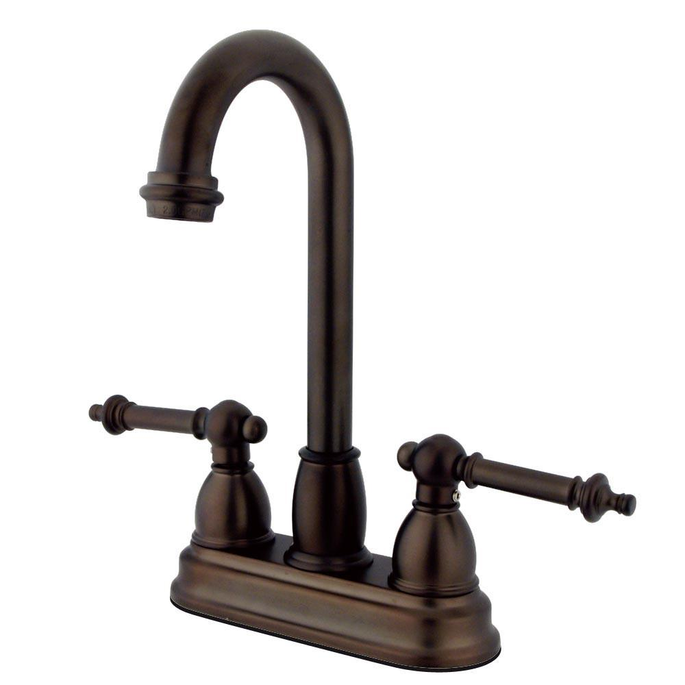 "Kingston Oil Rubbed Bronze Two Handle 4"" Centerset Bar Prep Sink Faucet KB3495TL"