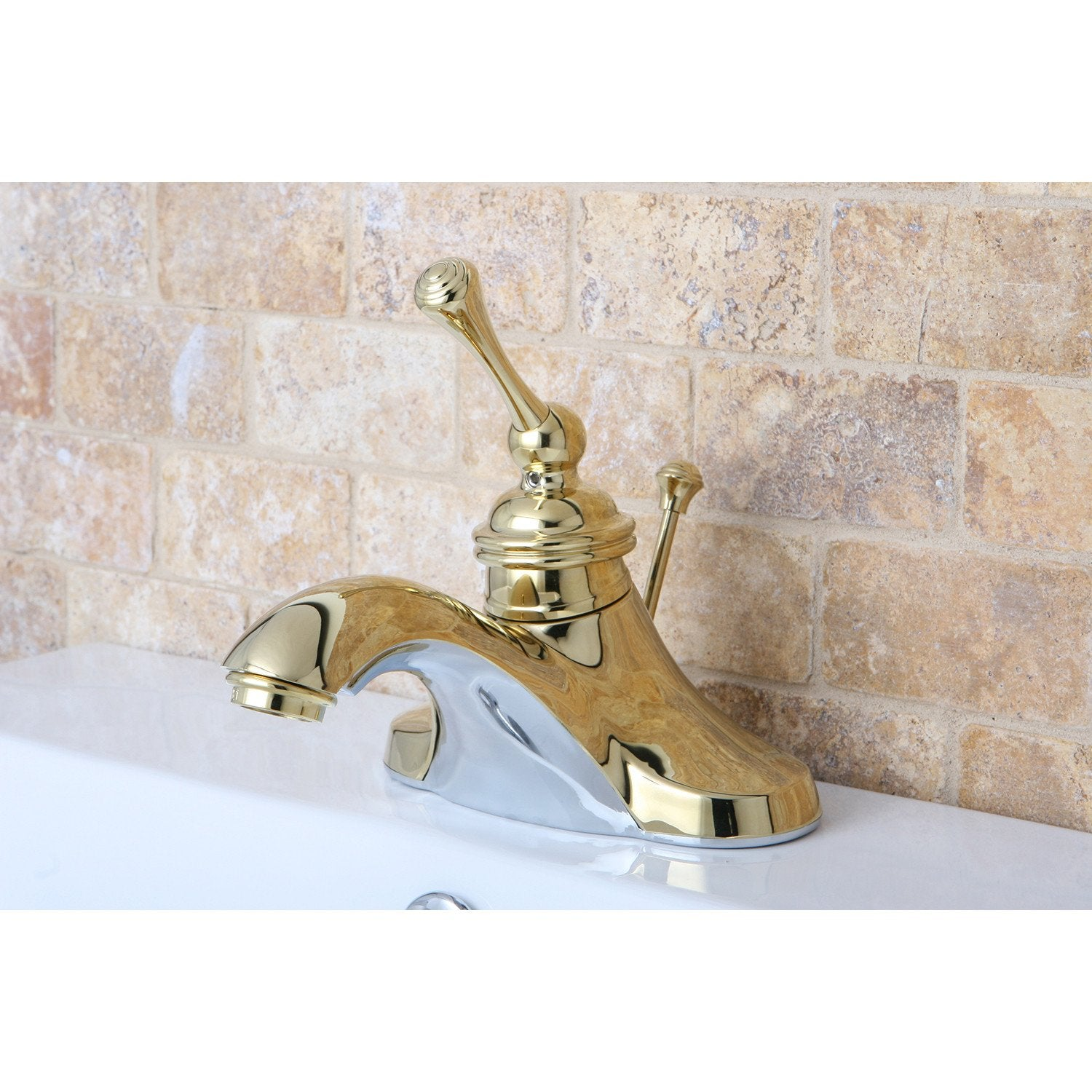 "Kingston Polished Brass Single Handle 4"" Centerset Bathroom Faucet KB3542BL"