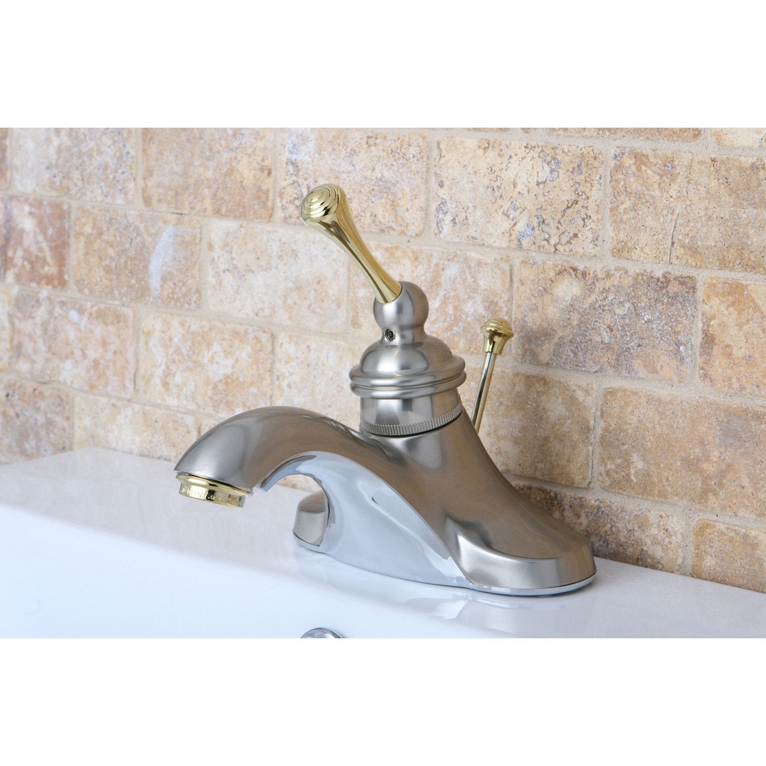 Kingston Satin Nickel / Polished Brass 1 Hdl Centerset Bathroom Faucet KB3549BL