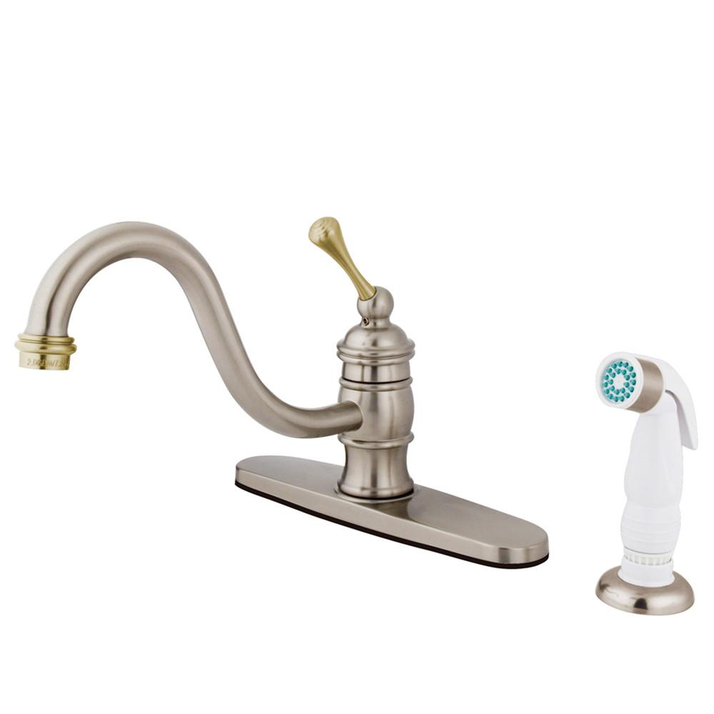 Satin Nickel / Polished Brass Single Handle Kitchen Faucet w spray KB3579BL