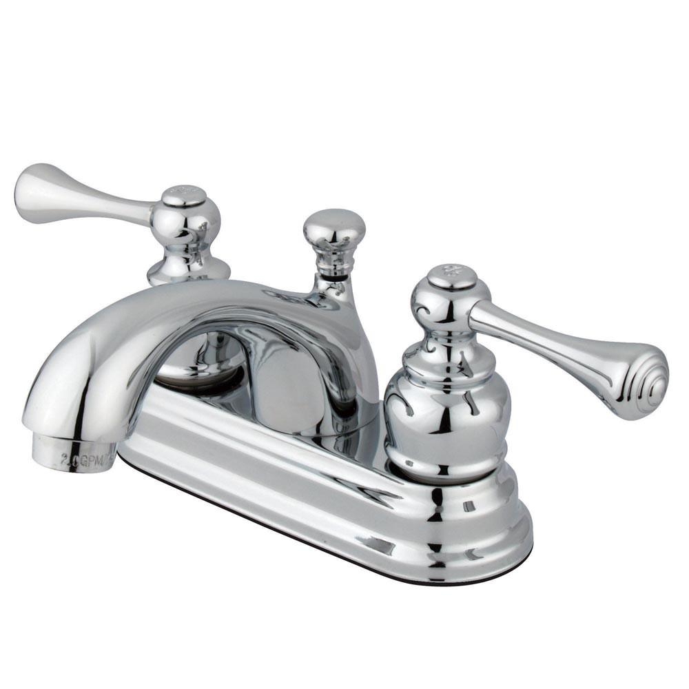 "Kingston Brass Chrome 2 Handle 4"" Centerset Bathroom Faucet with Pop-up KB3601BL"