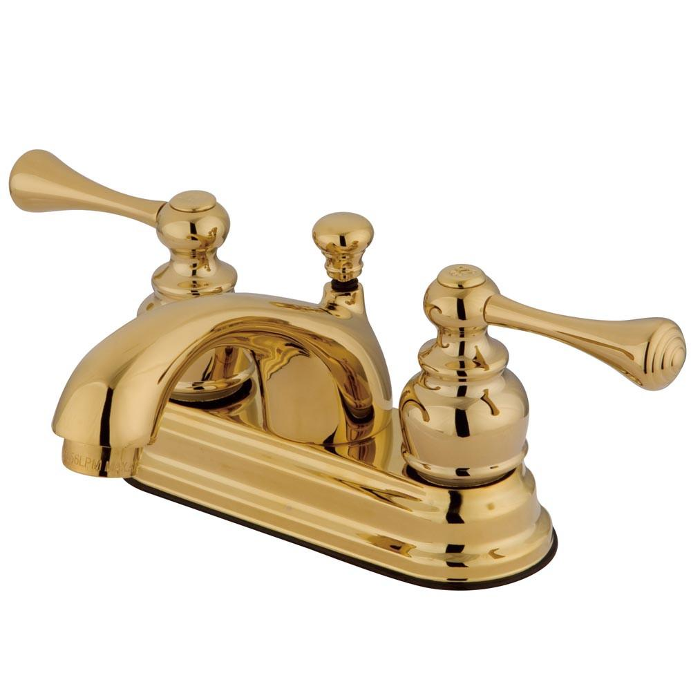 "Kingston Polished Brass 2 Handle 4"" Centerset Bathroom Faucet w Drain KB3602BL"