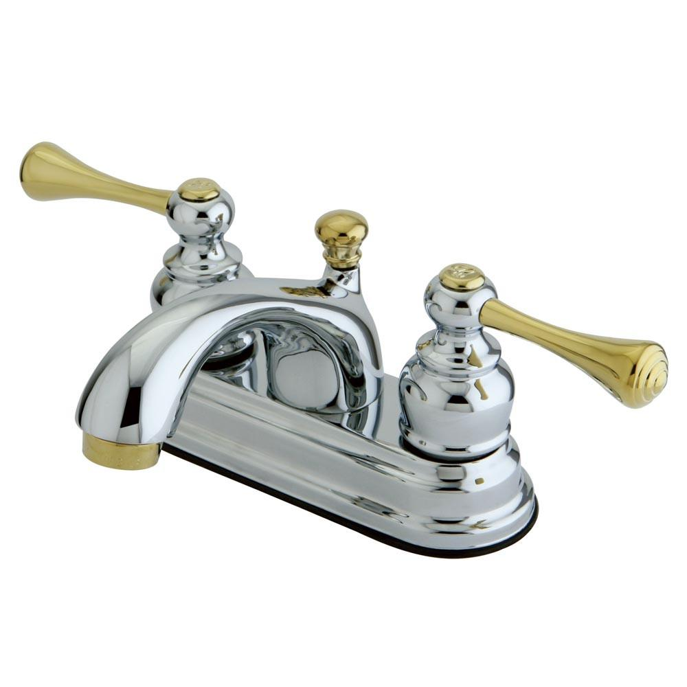 "Kingston Chrome / Polished Brass 4"" Centerset Bathroom Faucet w Pop-up KB3604BL"