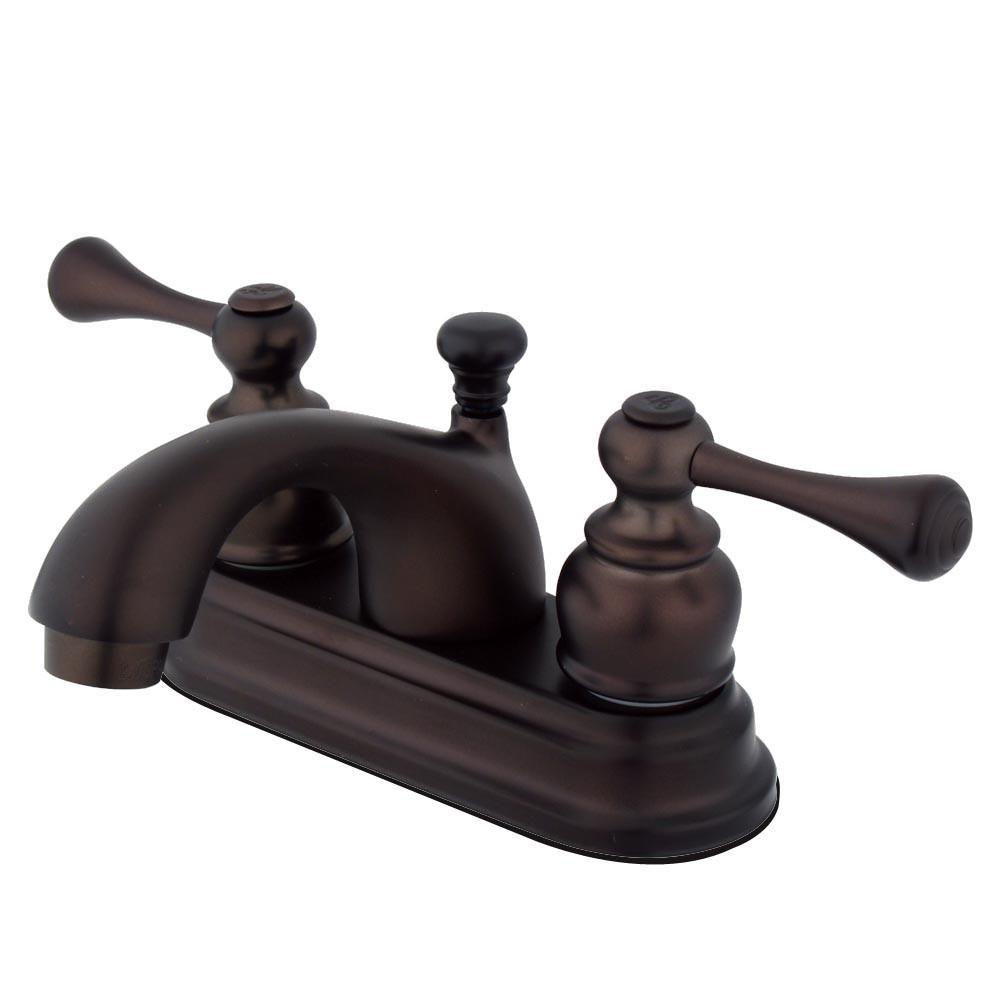 "Kingston Oil Rubbed Bronze 2 Handle 4"" Centerset Bathroom Faucet KB3605BL"