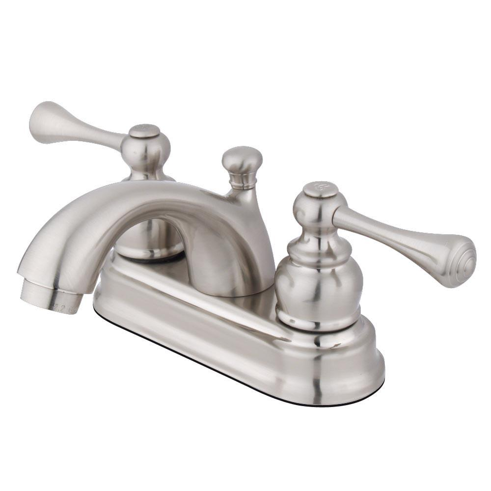 "Kingston Satin Nickel 2 Handle 4"" Centerset Bathroom Faucet w Drain KB3608BL"