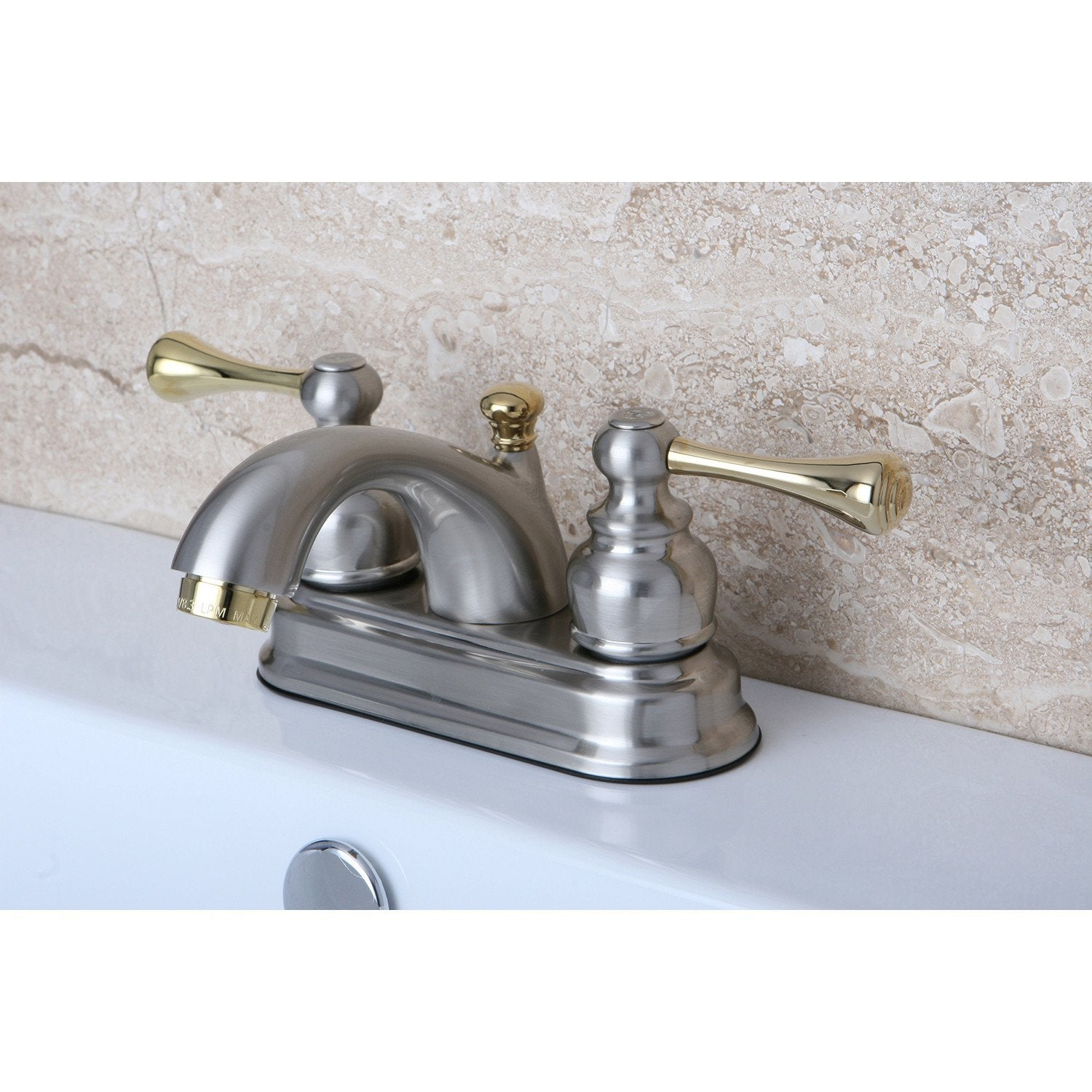 "Kingston Satin Nickel / Polished Brass 4"" Centerset Bathroom Faucet KB3609BL"