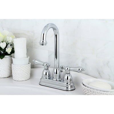 "Kingston Chrome two handle 4"" Centerset Bathroom Faucet with Pop-up KB3611AL"
