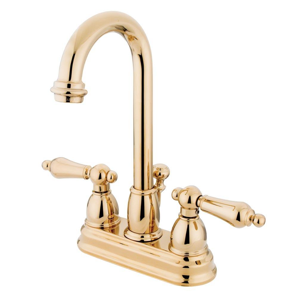 "Kingston Polished Brass 2 handle 4"" Centerset Bathroom Faucet w Drain KB3612AL"