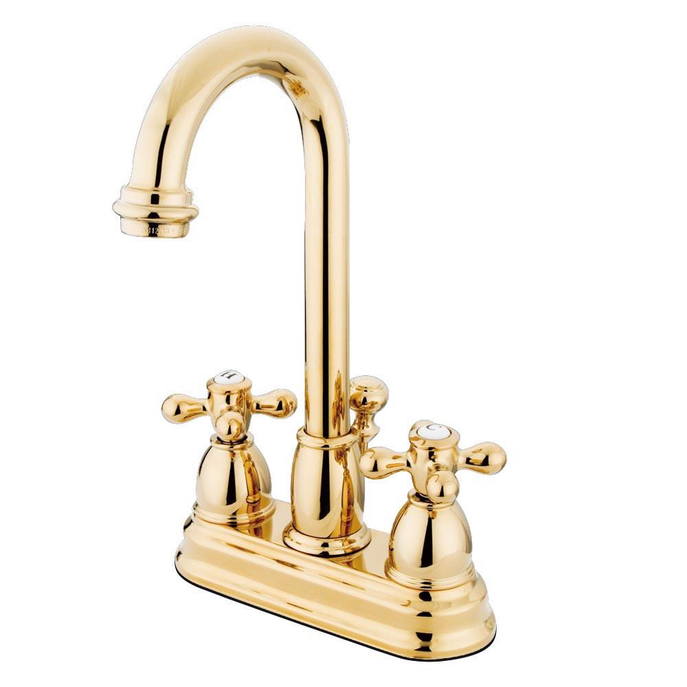 "Kingston Polished Brass 2 handle 4"" Centerset Bathroom Faucet w Drain KB3612AX"