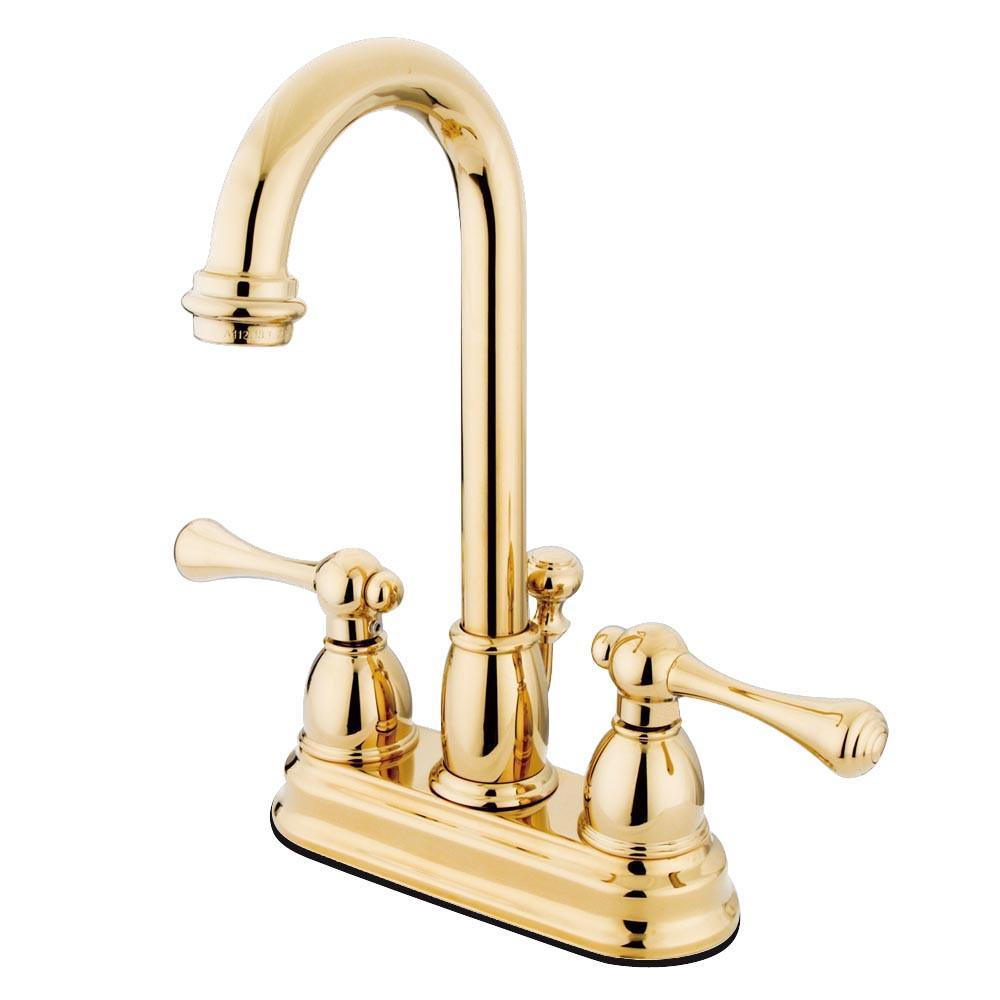 "Kingston Polished Brass 2 handle 4"" Centerset Bathroom Faucet w Drain KB3612BL"