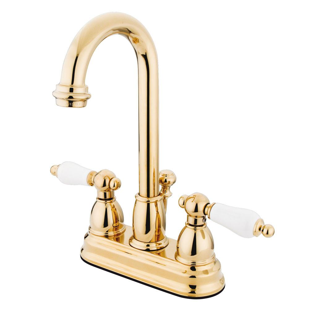 "Kingston Polished Brass 2 handle 4"" Centerset Bathroom Faucet w Drain KB3612PL"