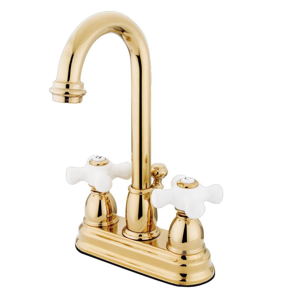 "Kingston Polished Brass 2 handle 4"" Centerset Bathroom Faucet w Drain KB3612PX"