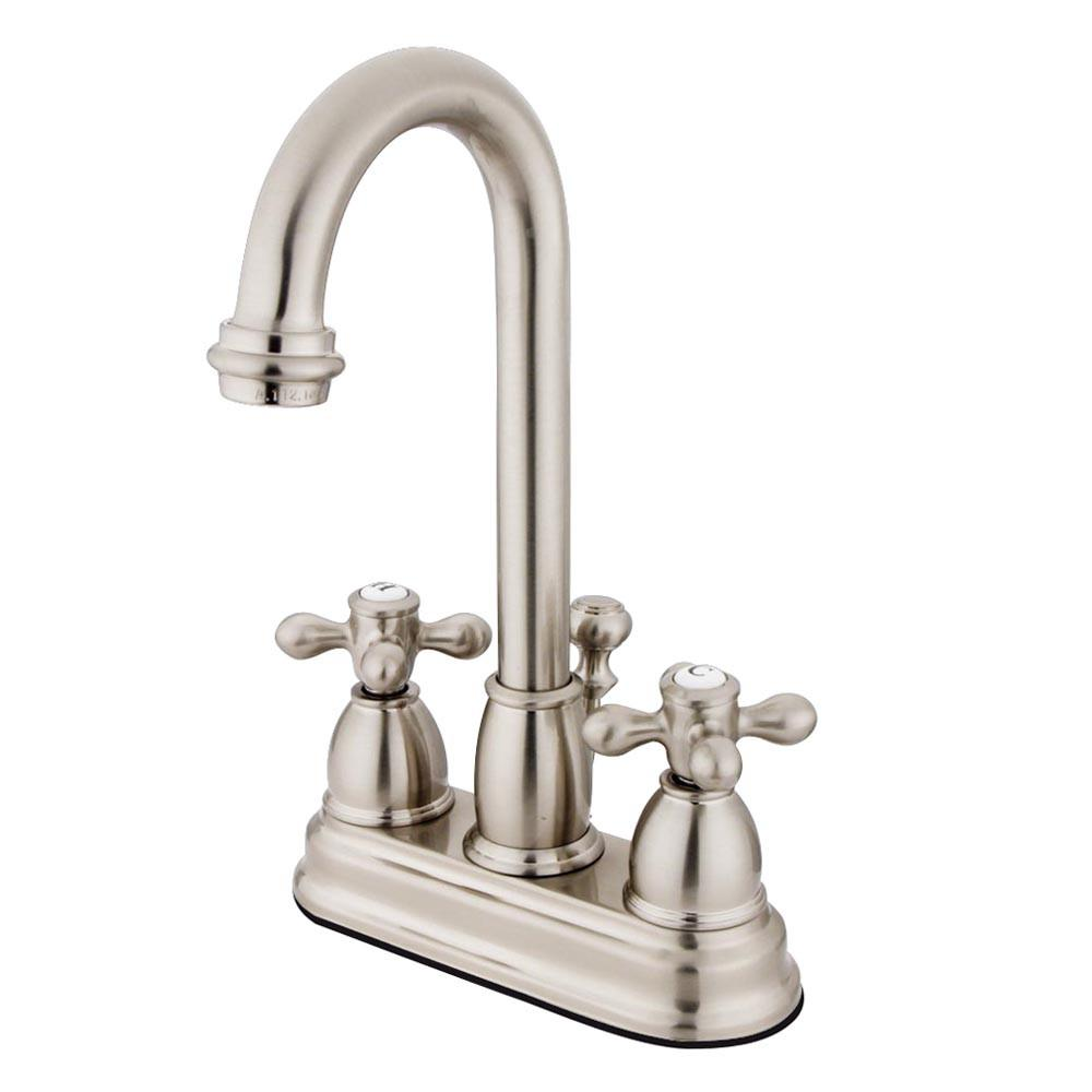 "Kingston Satin Nickel 2 handle 4"" Centerset Bathroom Faucet with Pop-up KB3618AX"