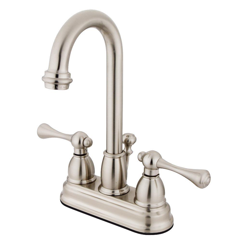 "Kingston Satin Nickel 2 handle 4"" Centerset Bathroom Faucet with Pop-up KB3618BL"