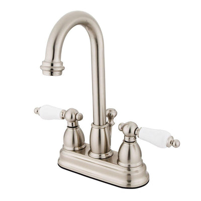 "Kingston Satin Nickel 2 handle 4"" Centerset Bathroom Faucet with Pop-up KB3618PL"