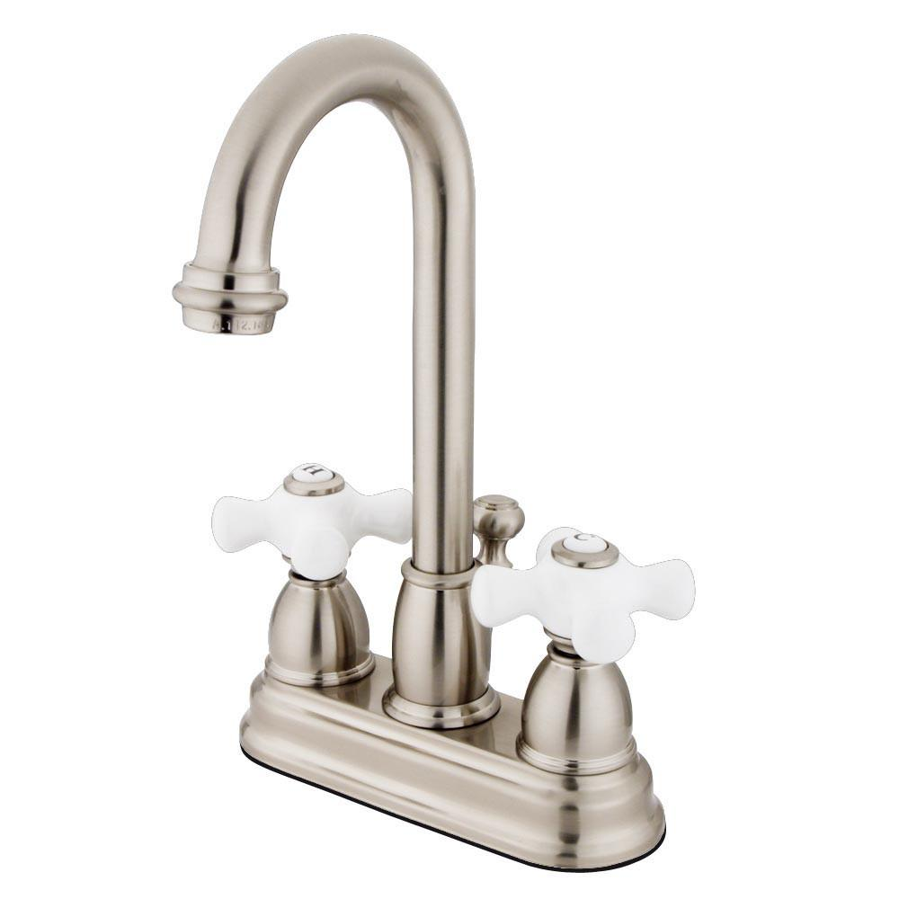 "Kingston Satin Nickel 2 handle 4"" Centerset Bathroom Faucet with Pop-up KB3618PX"