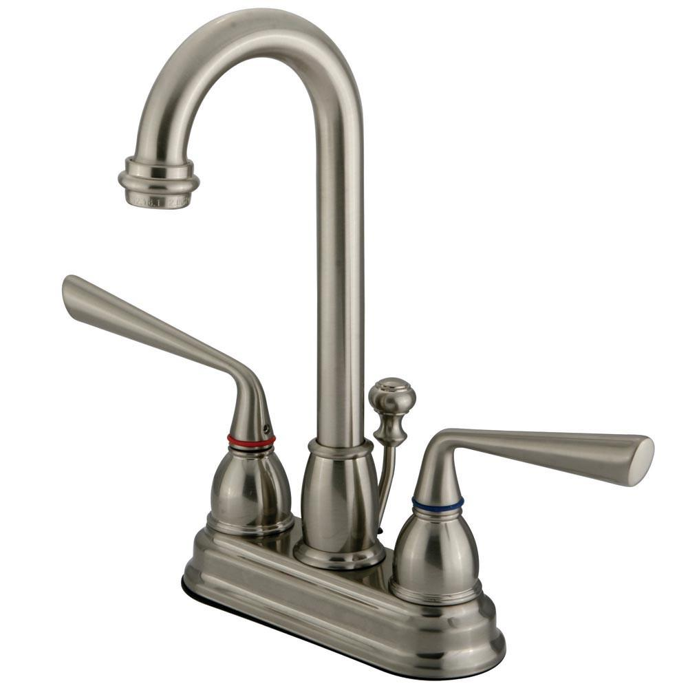"Kingston Silver Sage Satin Nickel 4"" Centerset Bathroom Faucet W/Pop-Up KB3618ZL"