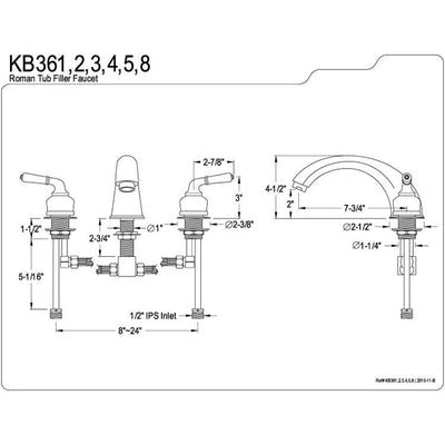 Kingston Brass Chrome Magellan roman tub filler faucet KB361