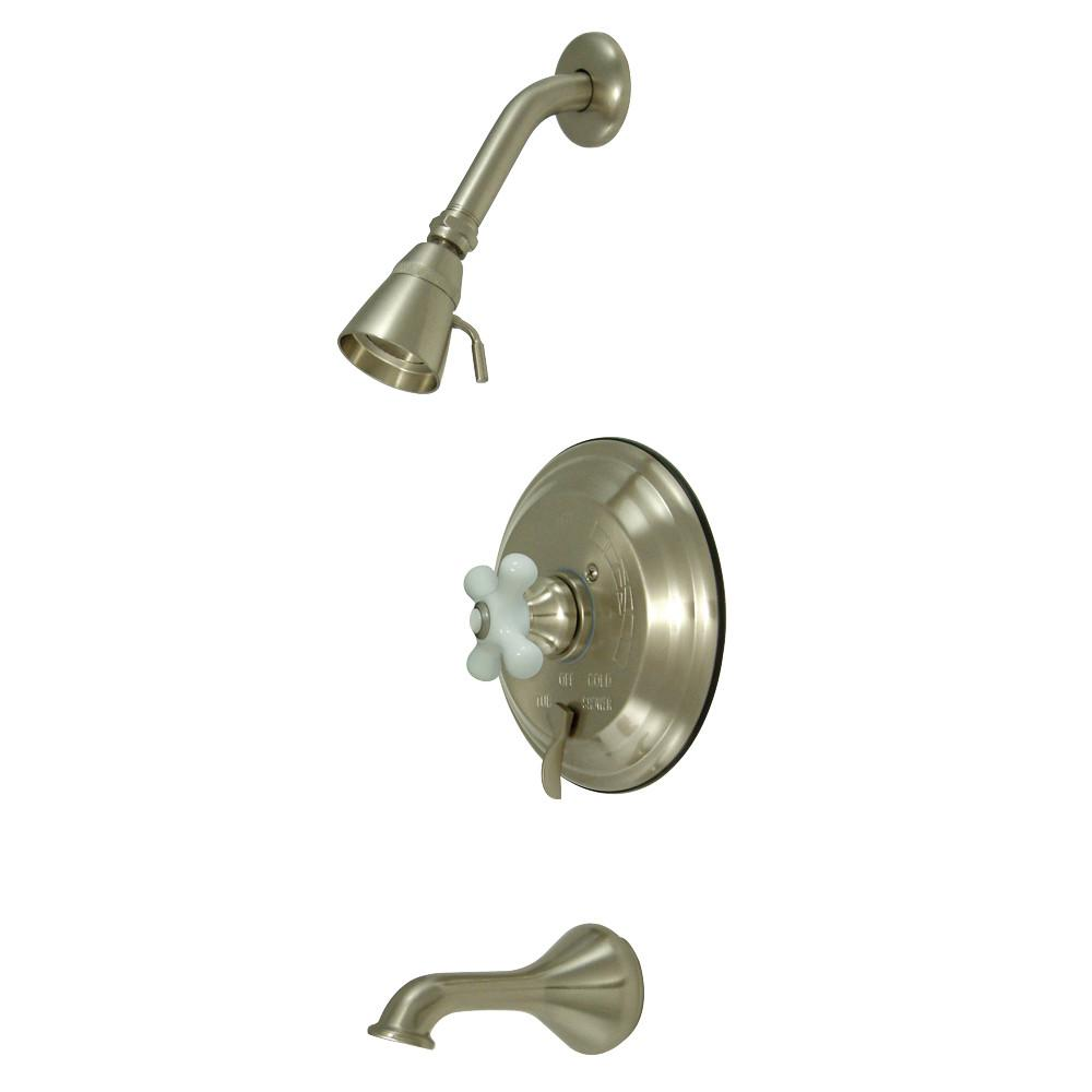 Kingston Satin Nickel Single Handle Tub & Shower Combination Faucet KB36380PX