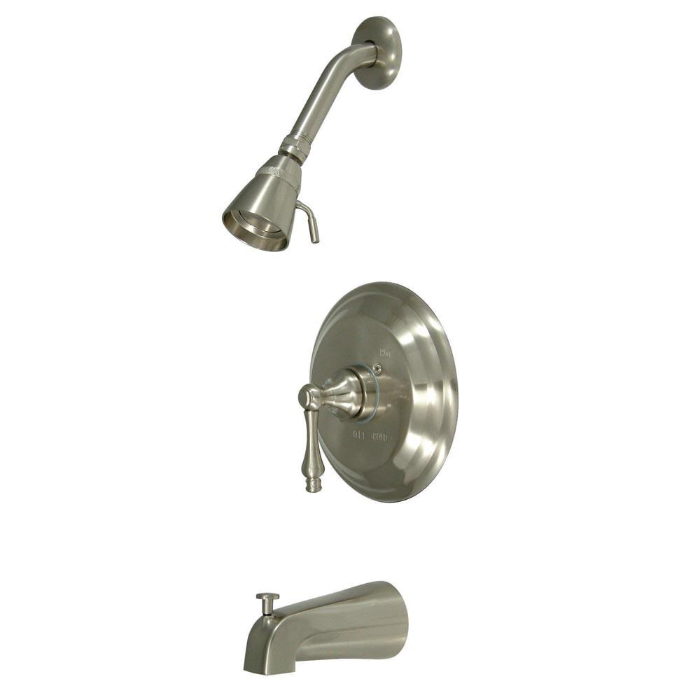 Kingston Satin Nickel Single Handle Tub and Shower Combination Faucet KB3638AL