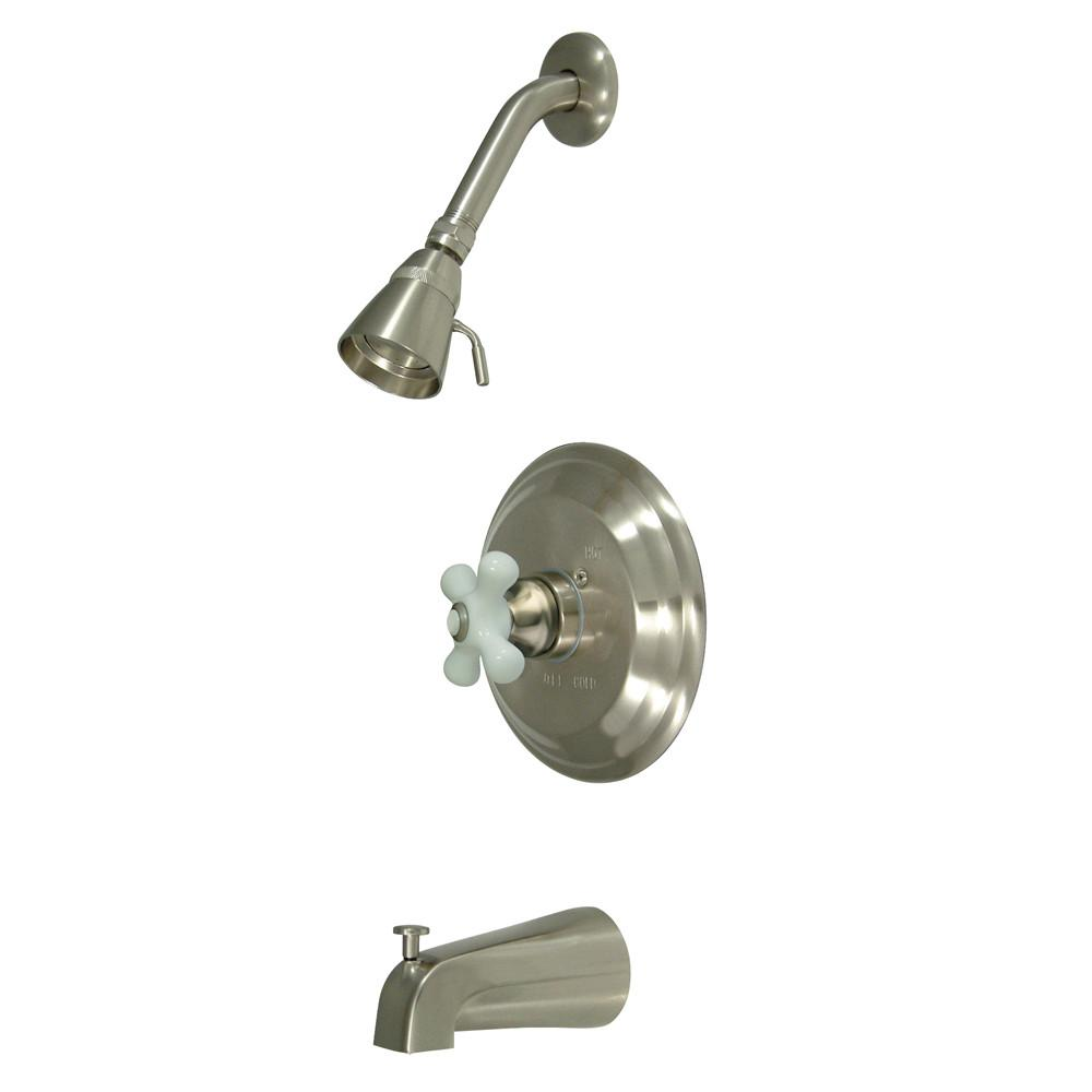 Kingston Satin Nickel Single Handle Tub & Shower Combination Faucet KB3638PX