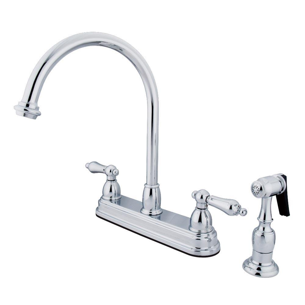 "Kingston Brass Chrome Two Handle 8"" Kitchen Faucet with Brass Sprayer KB3751ALBS"