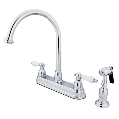 "Kingston Brass Chrome Two Handle 8"" Kitchen Faucet with Brass Sprayer KB3751PLBS"