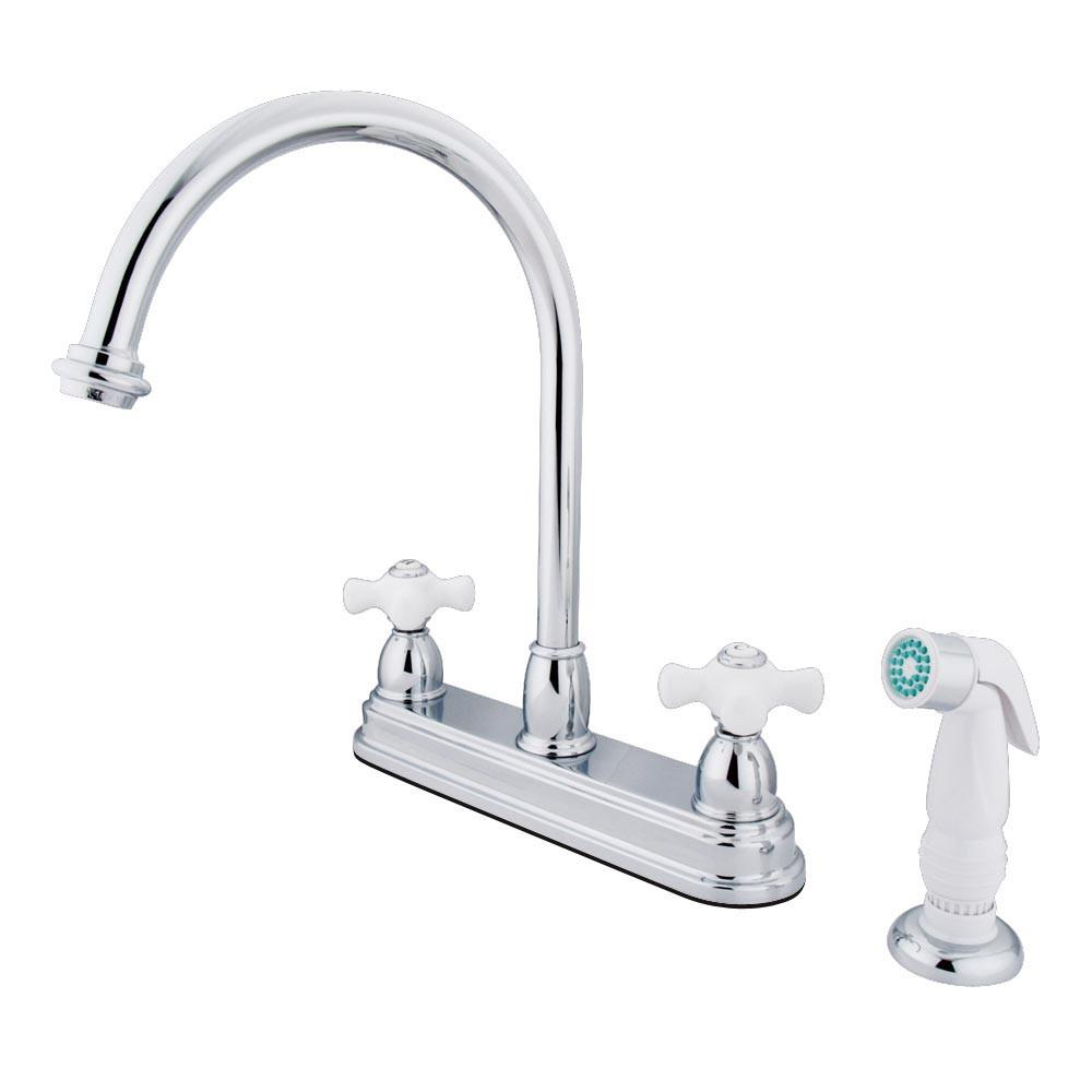 "Kingston Brass Chrome Two Handle 8"" Kitchen Faucet with White Sprayer KB3751PX"