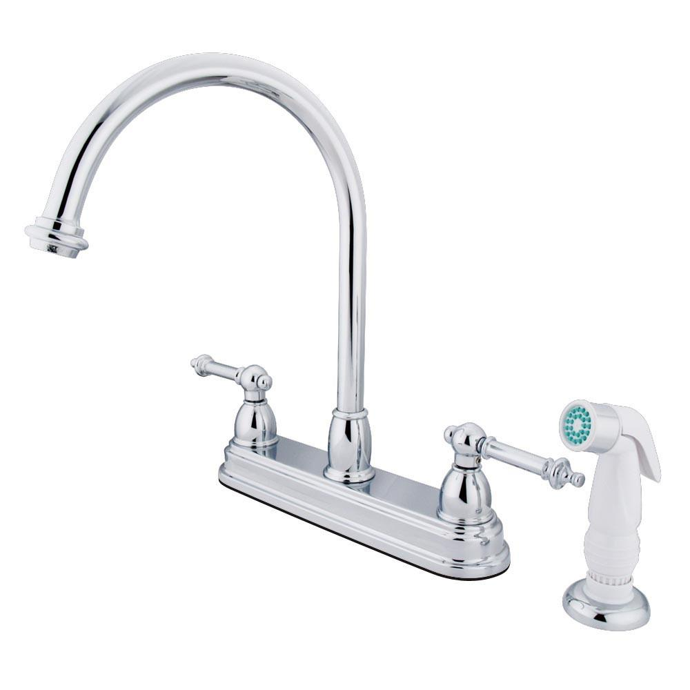 "Kingston Brass Chrome Two Handle 8"" Kitchen Faucet With White Sprayer KB3751TL"