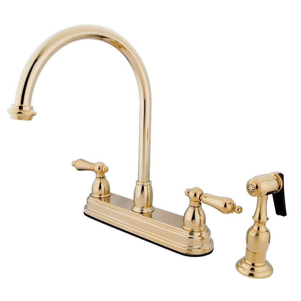 "Kingston Polished Brass Two Handle 8"" Kitchen Faucet With Brass Sprayer KB3752ALBS"