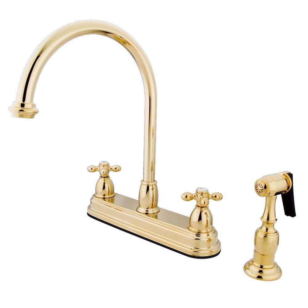 "Kingston Polished Brass Two Handle 8"" Kitchen Faucet w Brass Sprayer KB3752AXBS"