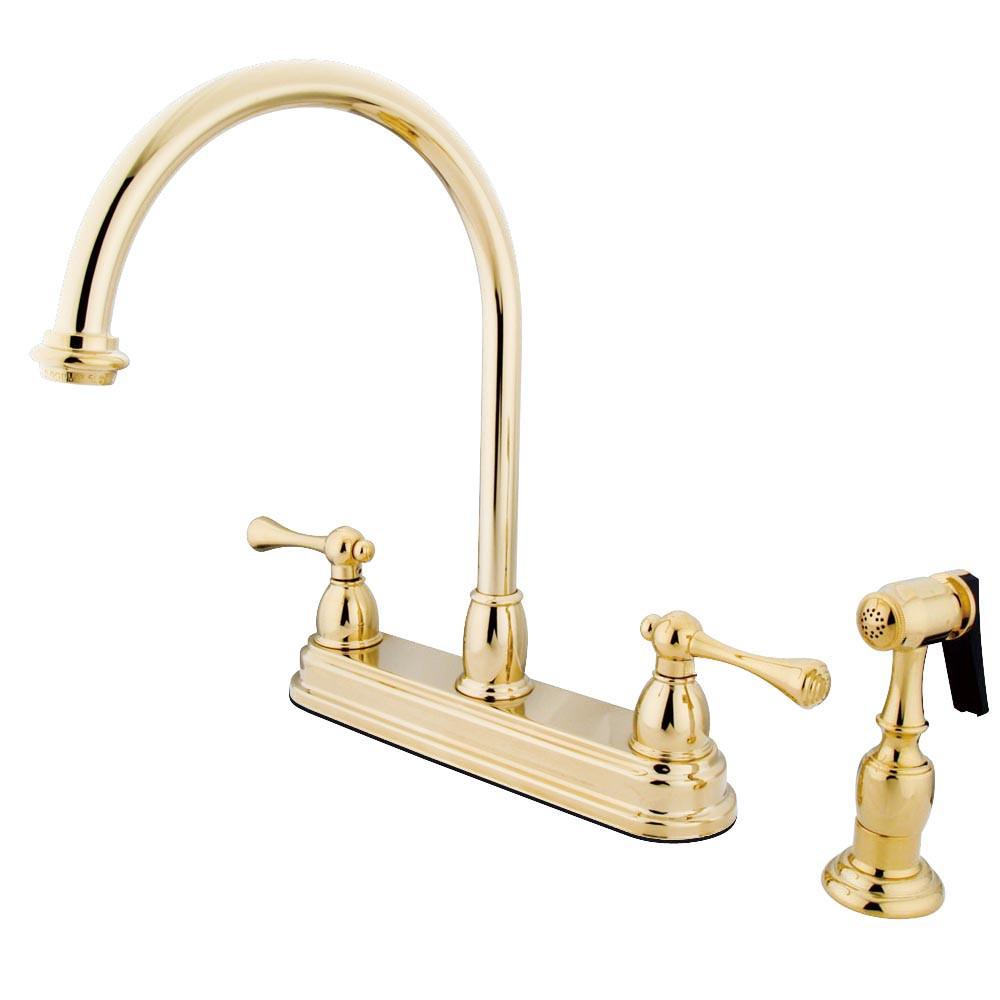 "Kingston Polished Brass Two Handle 8"" Kitchen Faucet With Brass Sprayer KB3752BLBS"