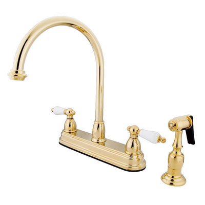 "Kingston Polished Brass Two Handle 8"" Kitchen Faucet With Brass Sprayer KB3752PLBS"
