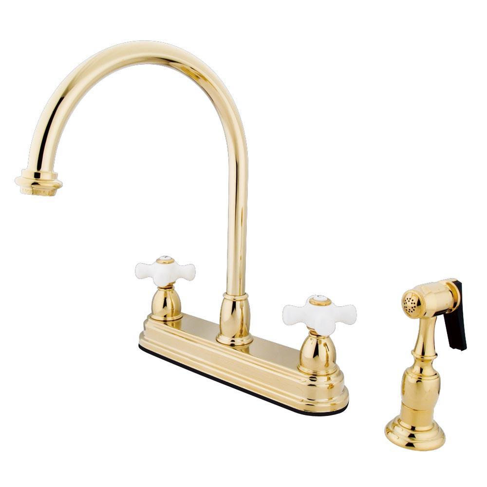 "Kingston Polished Brass Two Handle 8"" Kitchen Faucet w Brass Sprayer KB3752PXBS"