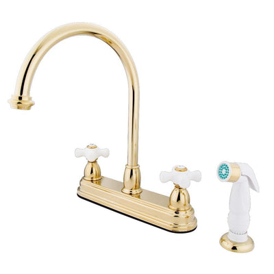 "Kingston Polished Brass Two Handle 8"" Kitchen Faucet with White Sprayer KB3752PX"