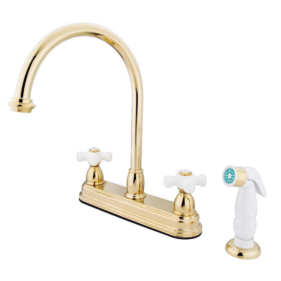 Polished Brass Kitchen Faucet Porcelain Cross Handles Tagged Brass Faucetlistcom