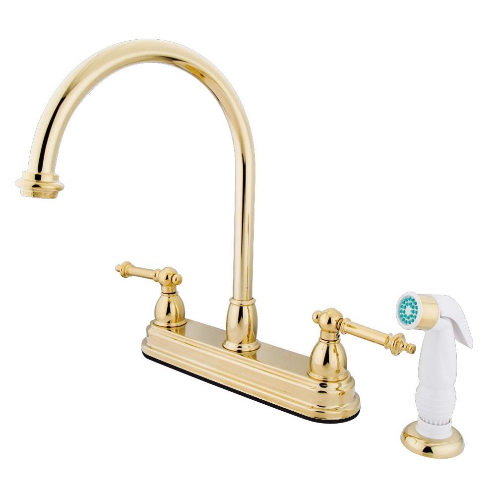 "Kingston Polished Brass Two Handle 8"" Kitchen Faucet With White Sprayer KB3752TL"