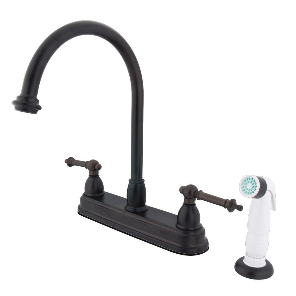 "Kingston Oil Rubbed Bronze Two Handle 8"" Kitchen Faucet w White Sprayer KB3755TL"