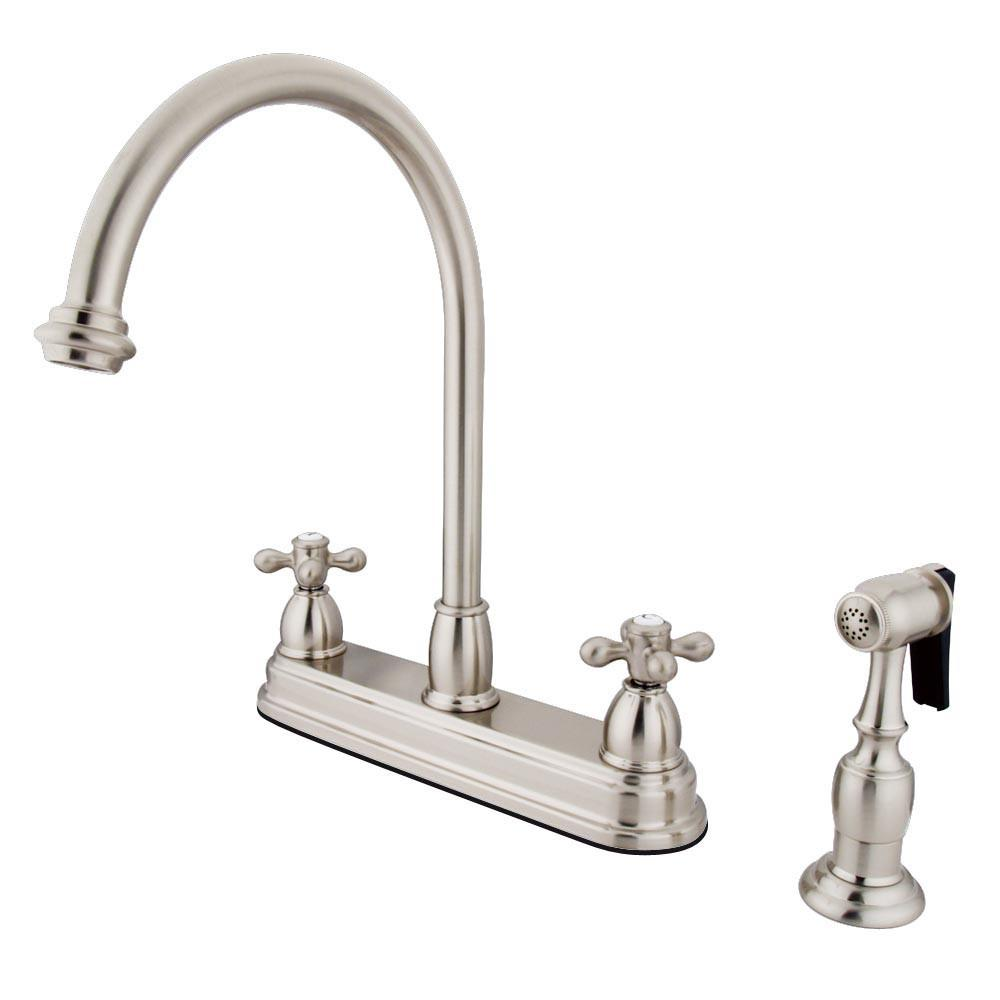 "Kingston Satin Nickel Two Handle 8"" Kitchen Faucet with Brass Sprayer KB3758AXBS"
